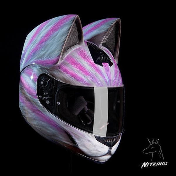 猫ヘルメットがクール!ネコ耳!二輪用フルフェイスヘルメット (4)