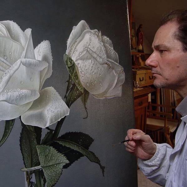 高精細!水滴をまとう写実的で美しいバラの花の油絵 (9)