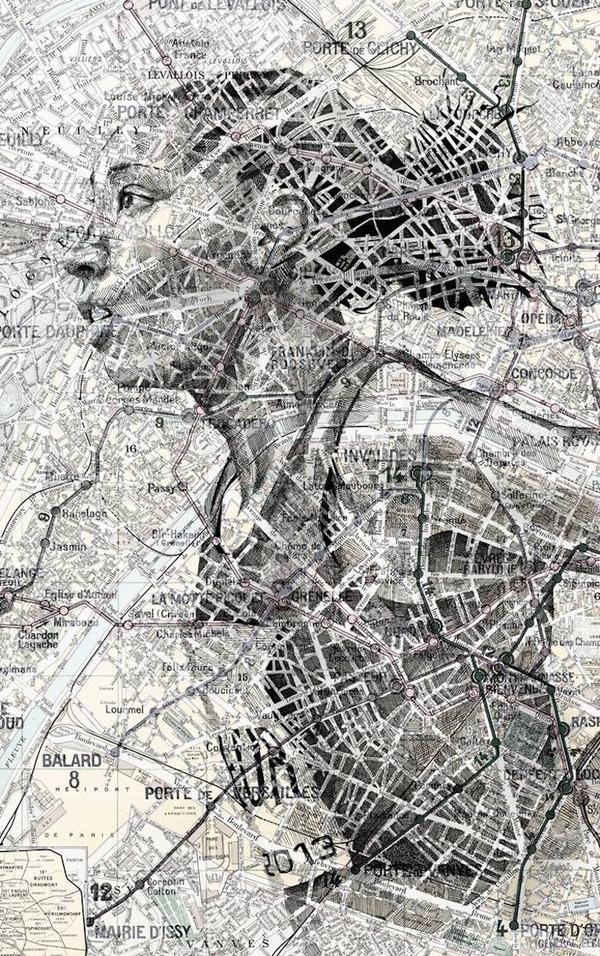地図をキャンバスにして描く印象的な肖像画 (2)