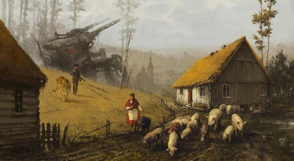 レトロな時代背景に機械的なSF要素。戦争を描いた空想世界 (14)
