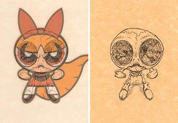 解剖学?漫画やアニメのキャラクターに骨付けしたイラスト! (4)