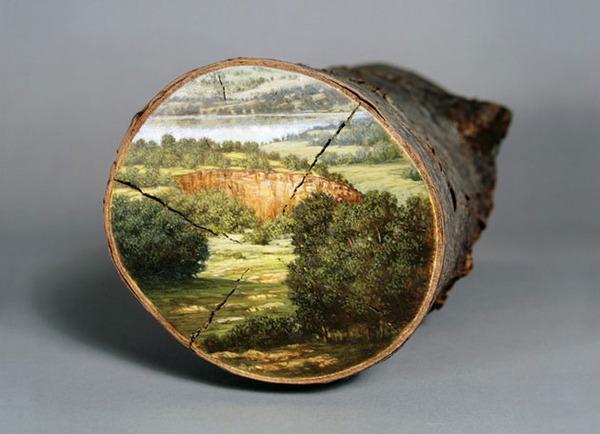 木の断面にアメリカの自然風景を描く (14)
