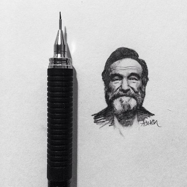 超小さいのに写実的!鉛筆の芯の先で描くミニチュア肖像画 (3)