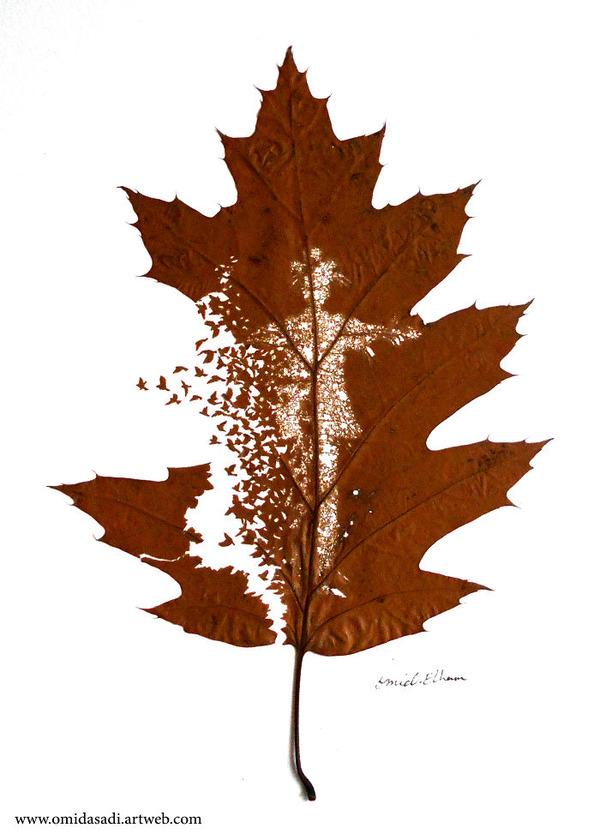 脆くて繊細な落ち葉にモチーフを彫る!カッティングアート (1)