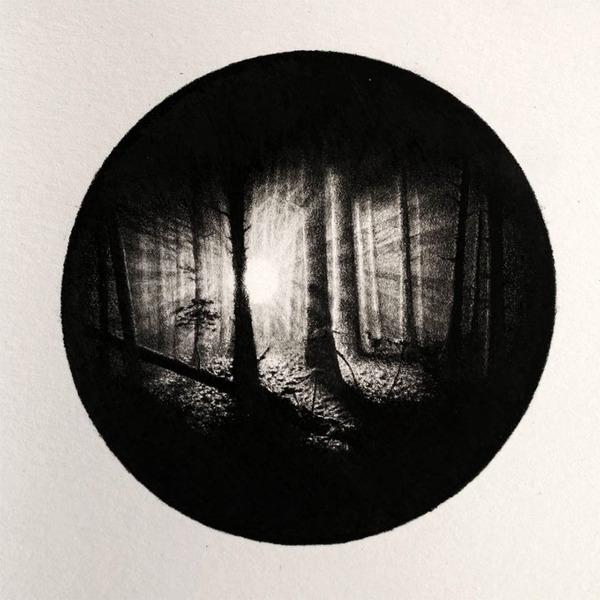 なんか神秘的。光と闇が描かれた小さなモノクロの絵シリーズ (4)