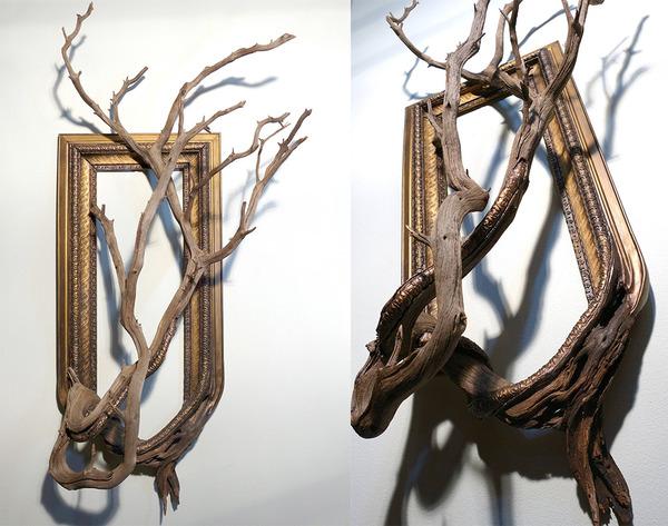 ねじれた木の形を生かしたヴィンテージで華やかな額縁 (3)