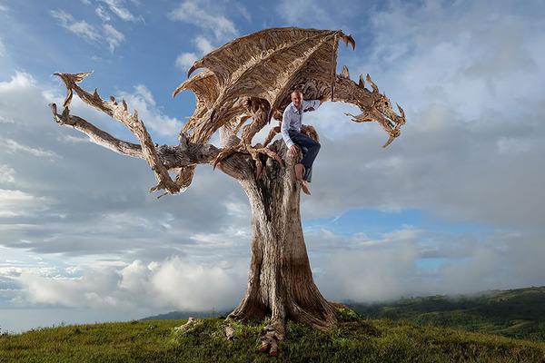 流木で作られたドラゴンの彫像,彫刻 3