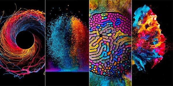 色彩豊かな流動性の液体アート Fabian Oefner