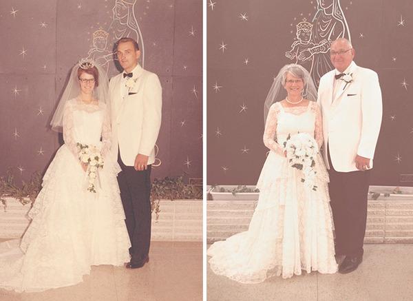 挙式から45年、同じドレス
