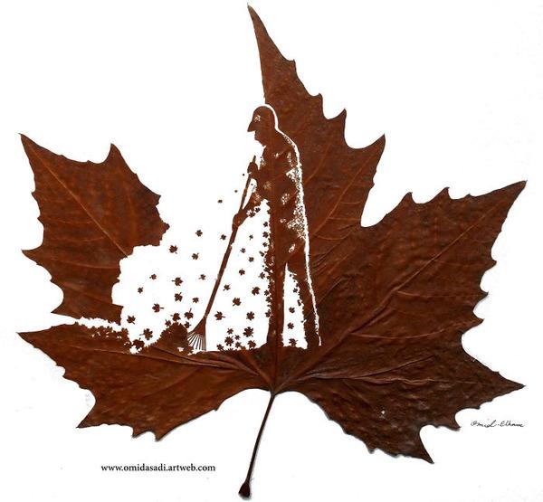 脆くて繊細な落ち葉にモチーフを彫る!カッティングアート (10)