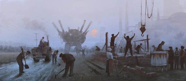 レトロな時代背景に機械的なSF要素。戦争を描いた空想世界 (9)