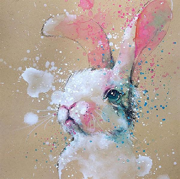 飛散する色彩と水滴!カラフルで可愛い小動物の水彩画 (1)