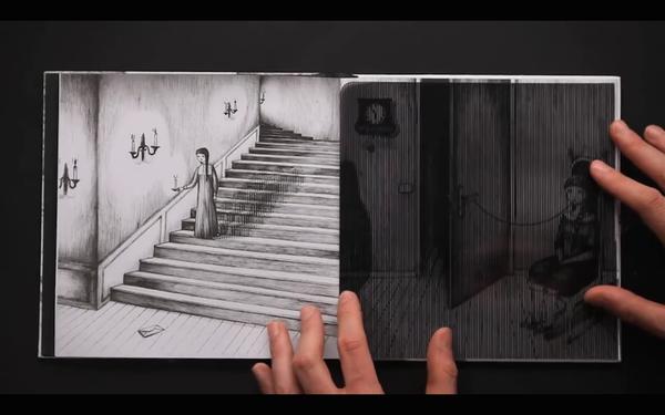 縞模様のフィルムを左右に動かすとアニメになる絵本『Vento』 (1)