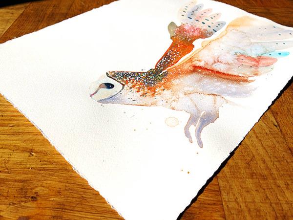 フクロウやワシなどの鳥類を描いたカラフルな水彩画 (3)