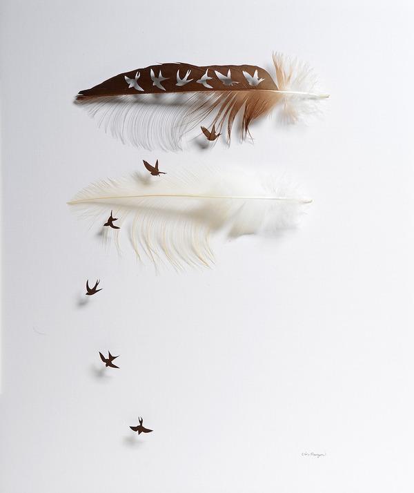 鳥の羽から切り取られた鳥類や動物のモチーフ (6)