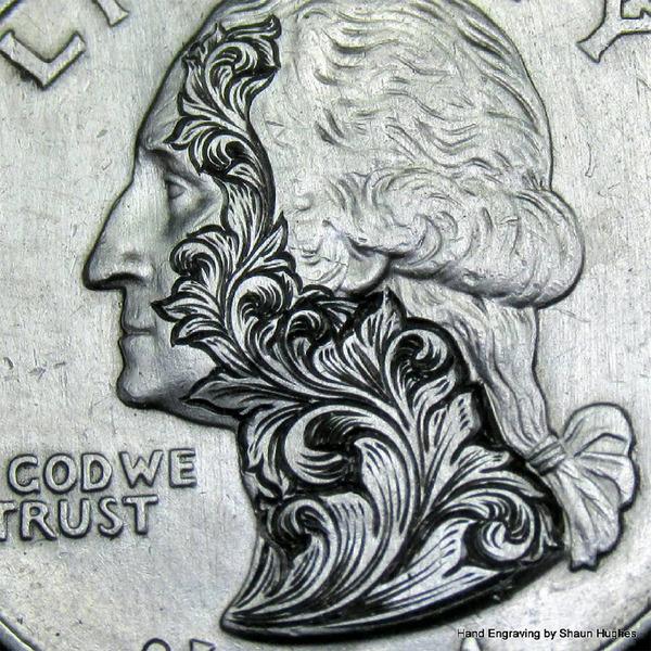 超繊細!コインに花の模様を彫る彫刻作品 (1)