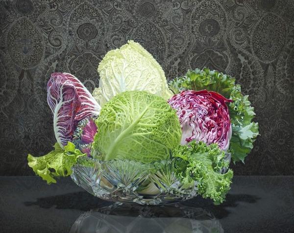 色鮮やかな果物と野菜の静物画,油絵 エリック・ワート 2