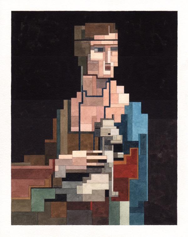 有名な絵画を図形で再構築して描いた彩画 (14)