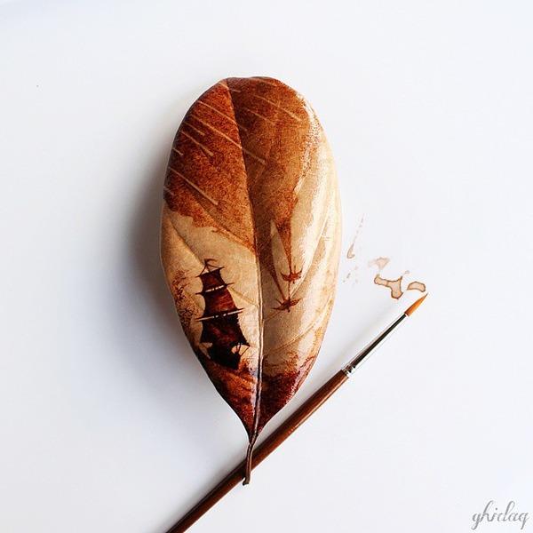 枯葉に描くコーヒ画,珈琲 (3)