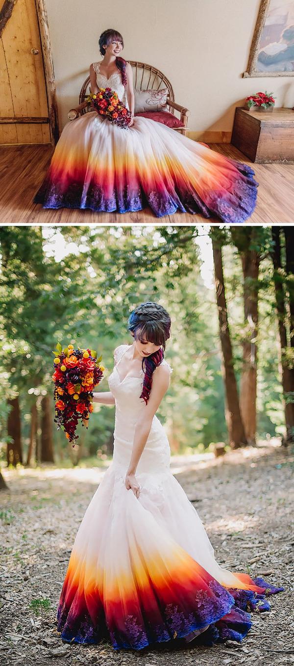 鮮やかなカラーが美しい。色が付いたウェディングドレス (4)