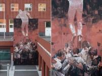 壁から這い出てくるような人間を描いた立体的な壁画