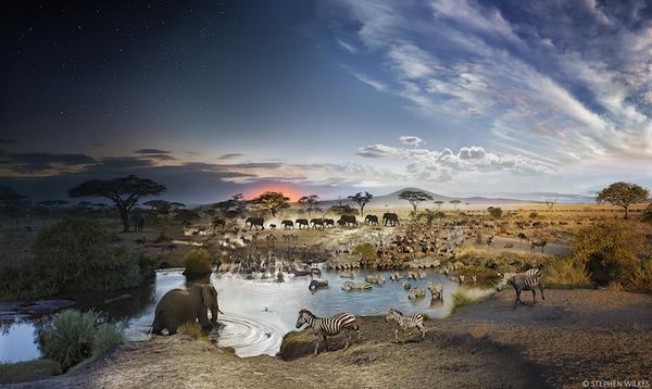 朝から夜までの景色を一つの写真の中に収めた幻想的な風景写真