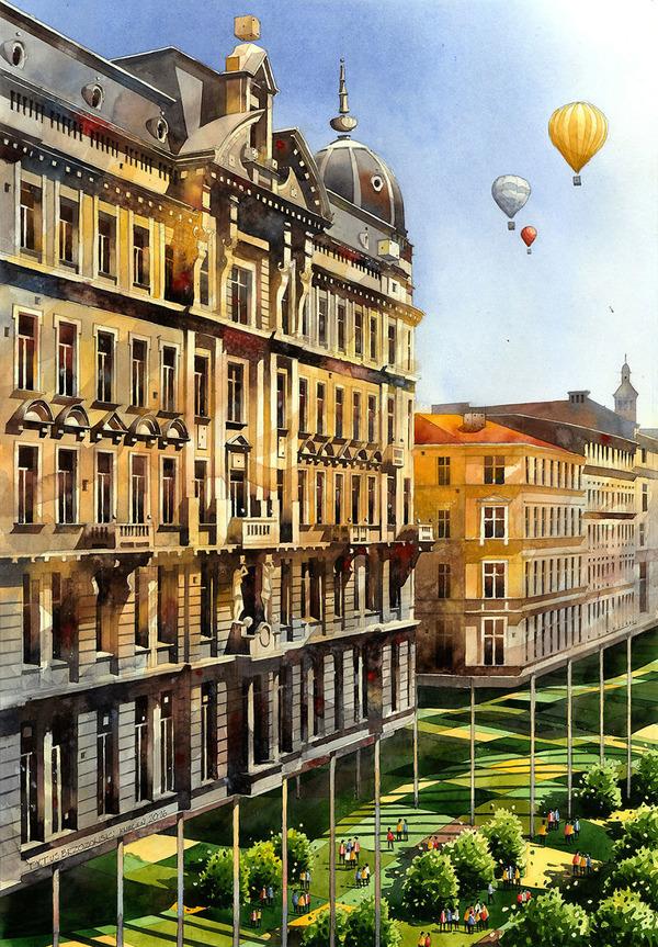 19世紀のポーランドの街並みに触発された都市の水彩画 (16)