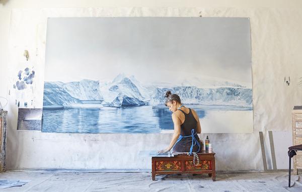 リアルなパステル風景画!変わり行く南極の氷を描く (1)