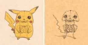 漫画やアニメのキャラクターに骨付けしたイラスト