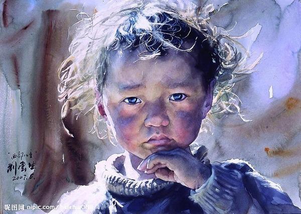 水彩画で描かれたハイパーリアルなチベットの風景、肖像画 (1)