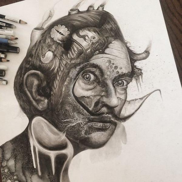 インクを注ぎ、飛び散らせてカオスなイラストレーションを描く (6)