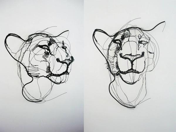 クロッキーみたい!ワイヤーをねじって描写される動物彫刻 (7)