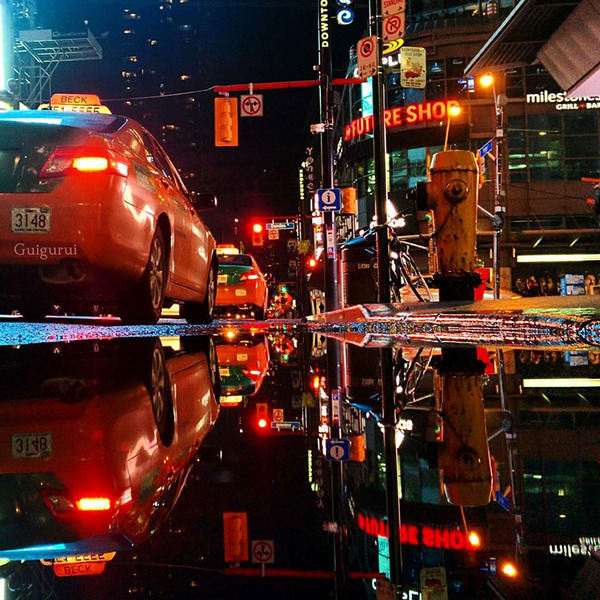 パラレルワールド!水たまりに反射する街の風景写真 (11)