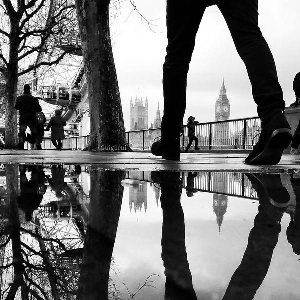 パラレルワールド!水たまりに反射する街の風景写真 (7)