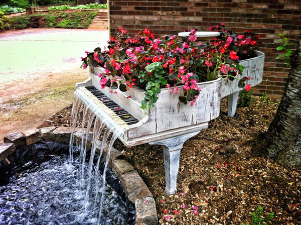 #5 Old Piano Into Outdoor Fountain