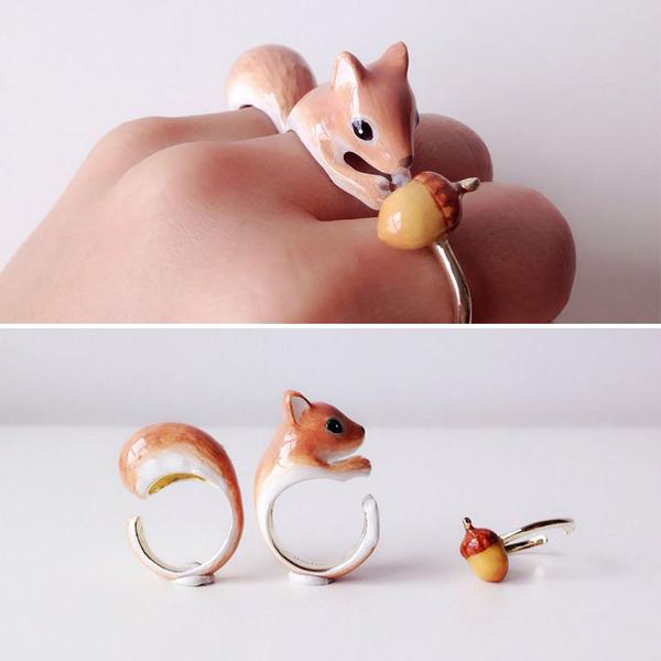 三つで一つの動物指輪。かわいいアニマルリング! (6)