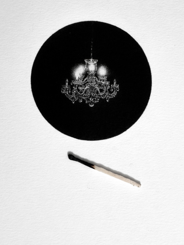 なんか神秘的。光と闇が描かれた小さなモノクロの絵シリーズ (6)