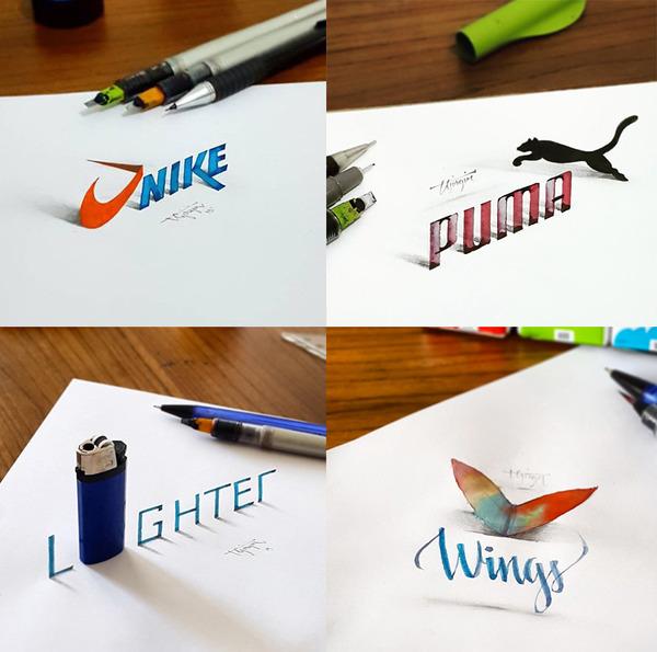 紙上の文字が立体的に!3Dカリグラフィー(Calligraphy) (4)
