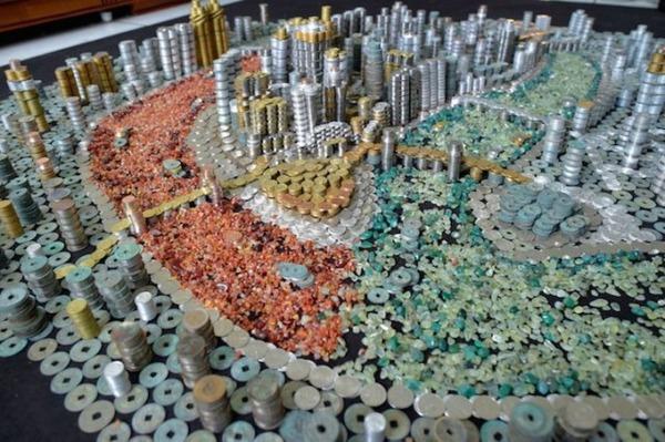 硬貨で作られた都市のレプリカ Peixi