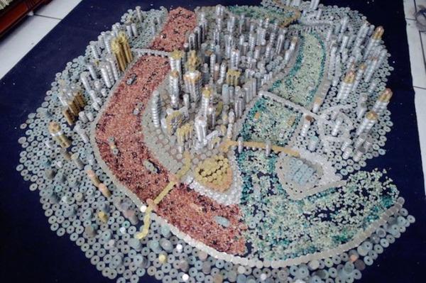 硬貨で作られた都市のレプリカ Peixi 3