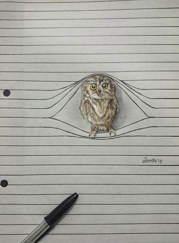 紙から飛び出る!ノートの横線で遊ぶキュートな動物のイラスト (3)