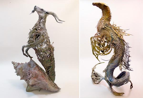 動物の彫刻アート