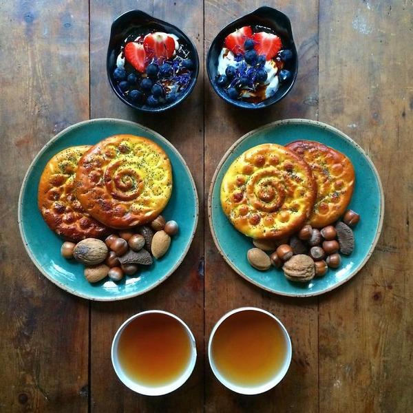 美味しさ2倍!毎日シンメトリーな朝食写真シリーズ (26)