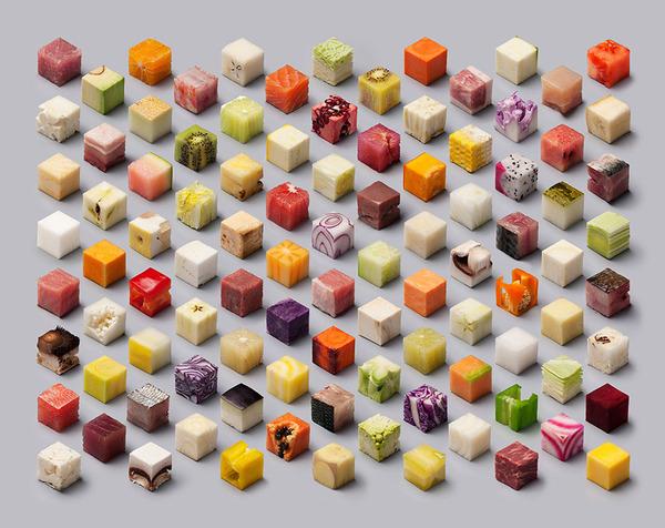 キューブ状にカットされた食材アート