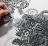 ひたすらに点を打つ!手描きの点で描かれる繊細かつ壮大な絵画