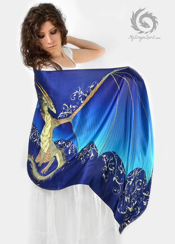 ドラゴン!竜を描いたシルクのスカーフ (10)