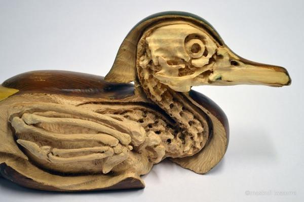カモの骸骨彫刻 Maskull Lasserre 2