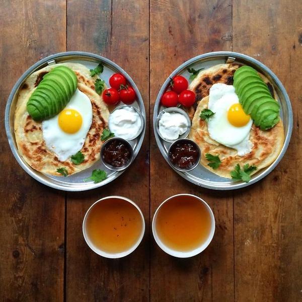 美味しさ2倍!毎日シンメトリーな朝食写真シリーズ (49)