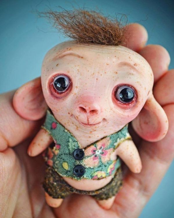 キモカワ!?ポリマークレイ製の手作りクリーチャー人形 (10)
