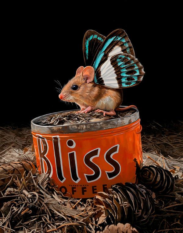 蝶々の羽が生えたネズミやリス小動物を描いた絵 (2)